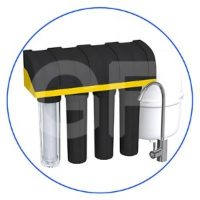 5-stage RO water filtration system, equipped with UDF-SLIM type filter cartridges