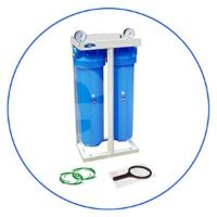 20 high efficiency 2-Stage Whole house Big Blue® filtration system with metal platform, pressure gauges and connection adapters