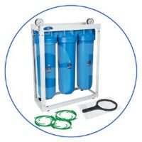 20 high efficiency 3-Stage Whole house Big Blue® filtration system with metal platform, pressure gauges and connection adapters.