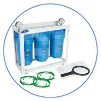 10 high efficiency in-line system Big Blue type with metal platform, pressure gauges and connection adapters.